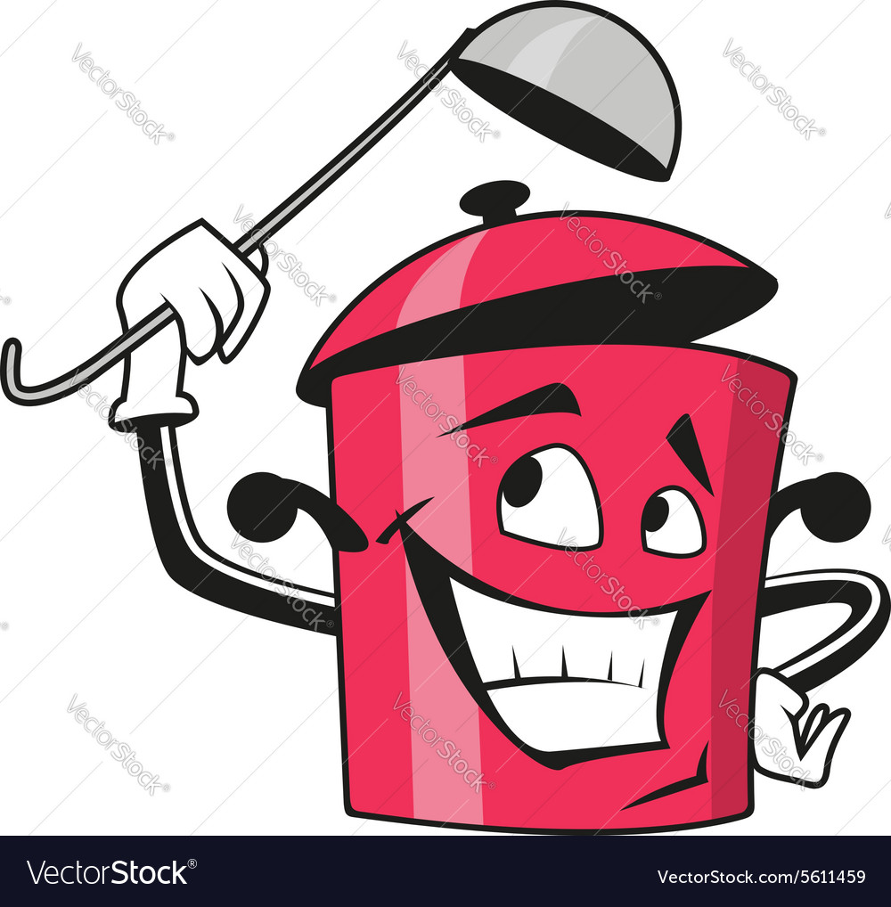 Cartoon saucepan character with ladle vector