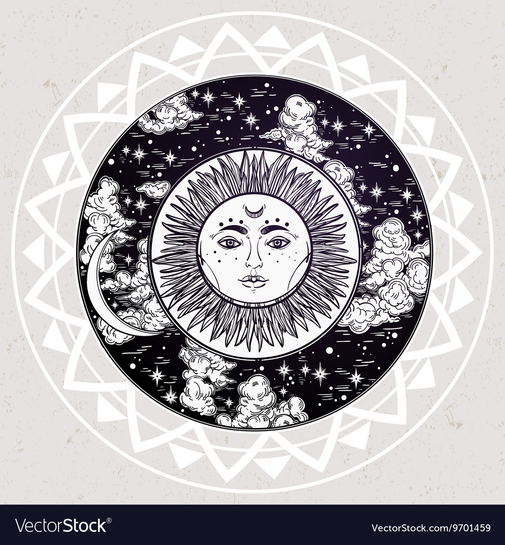 Round drawing of a night sky with sun moon inside vector