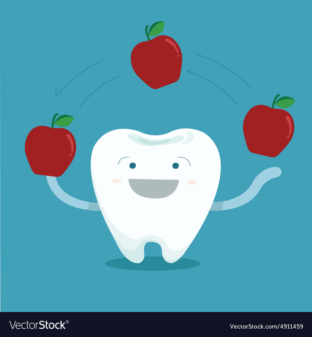 Tooth play magic of apple vector