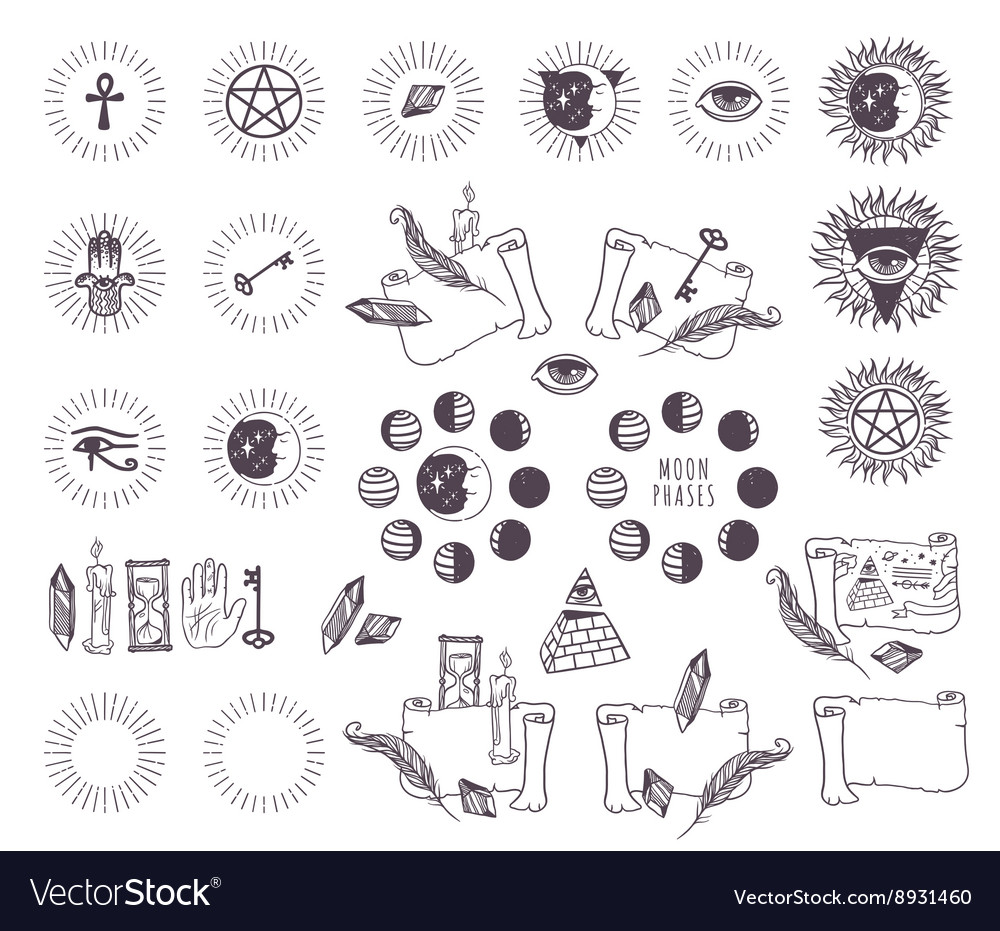 Astrology esoteric icons vector
