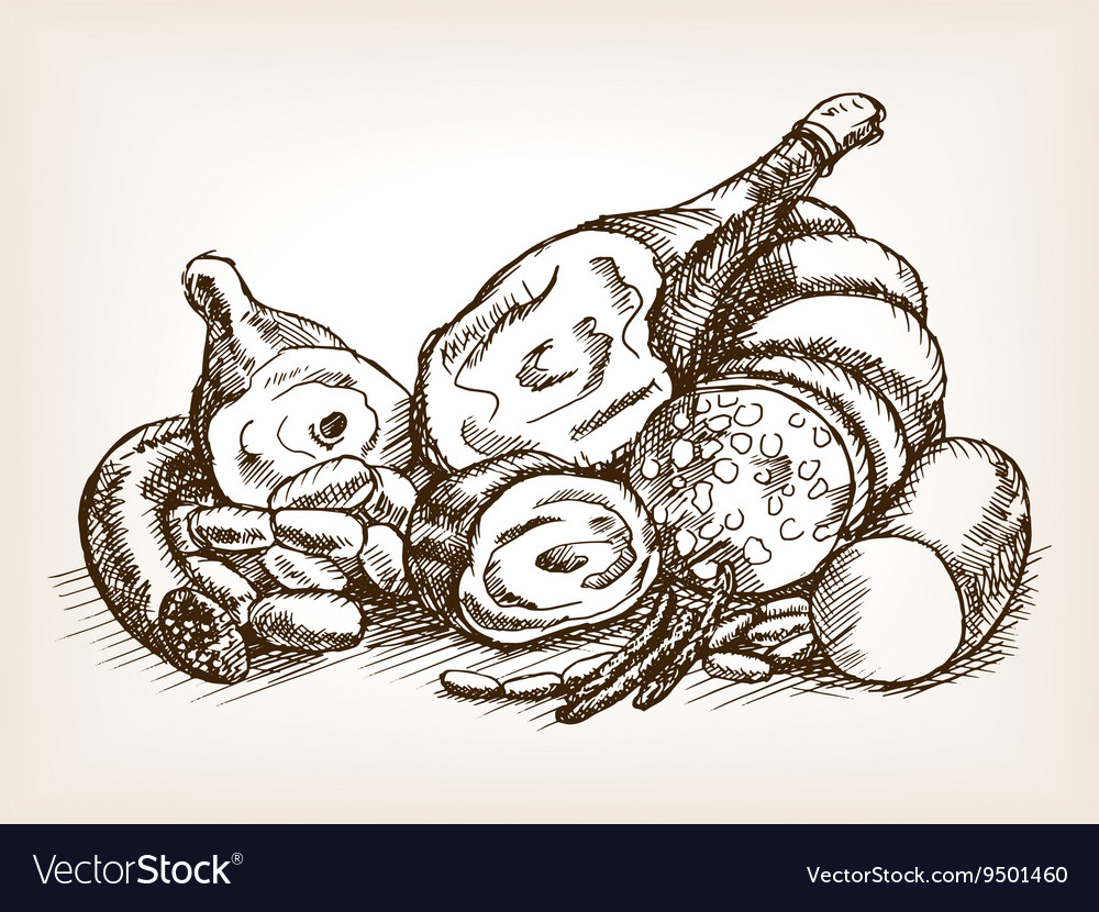 Meat products still life sketch style vector