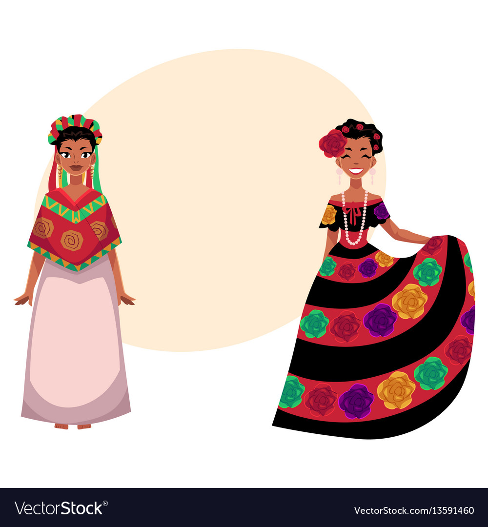 Mexican woman in traditional national dress vector