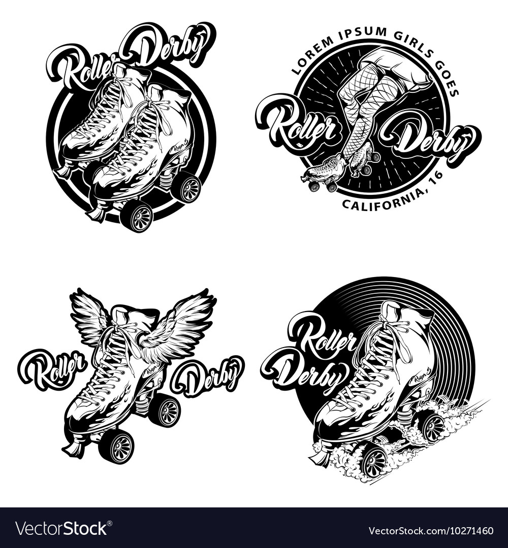Roller derby monochrome emblems vector