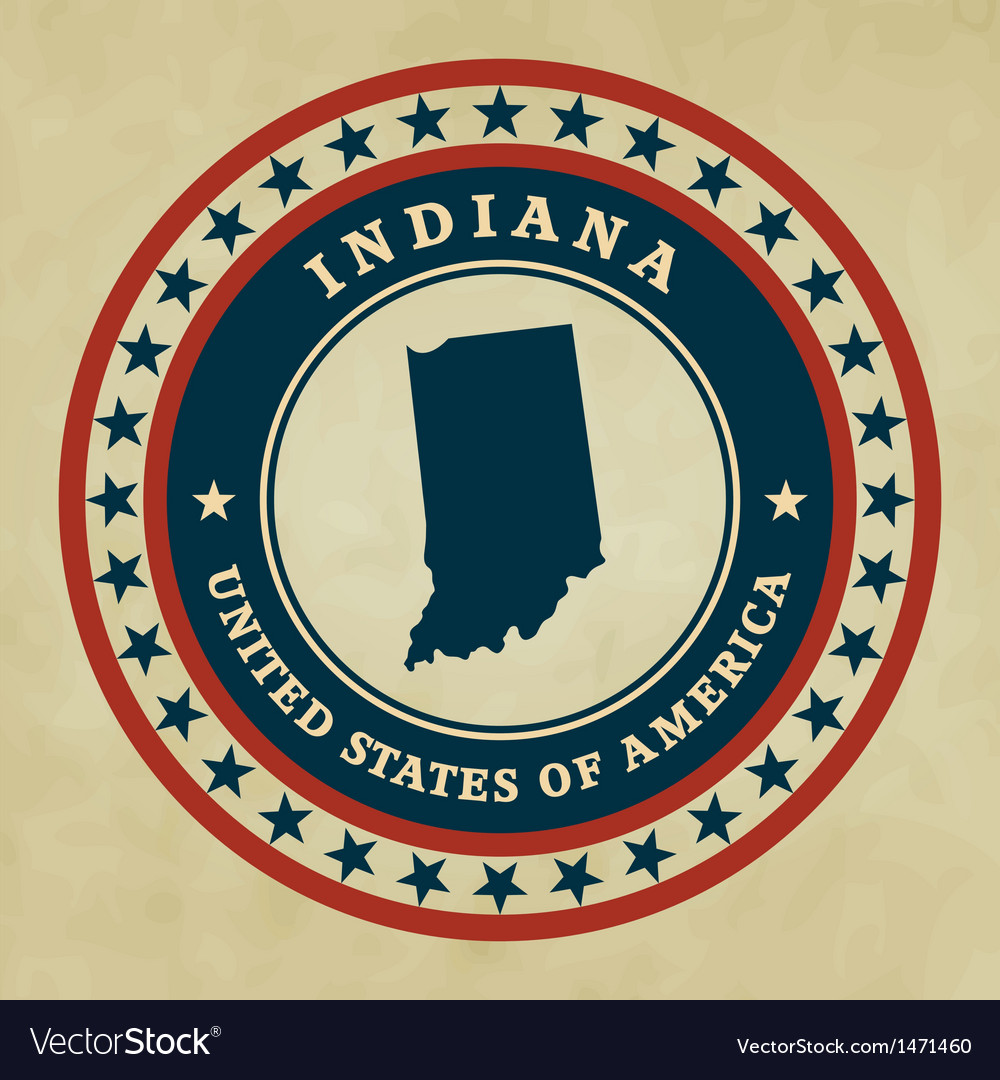 Vintage label indiana vector