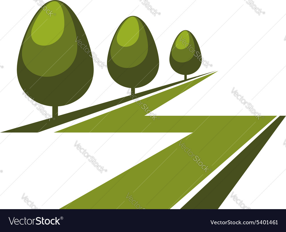 Abstract green alley icon or symbol vector