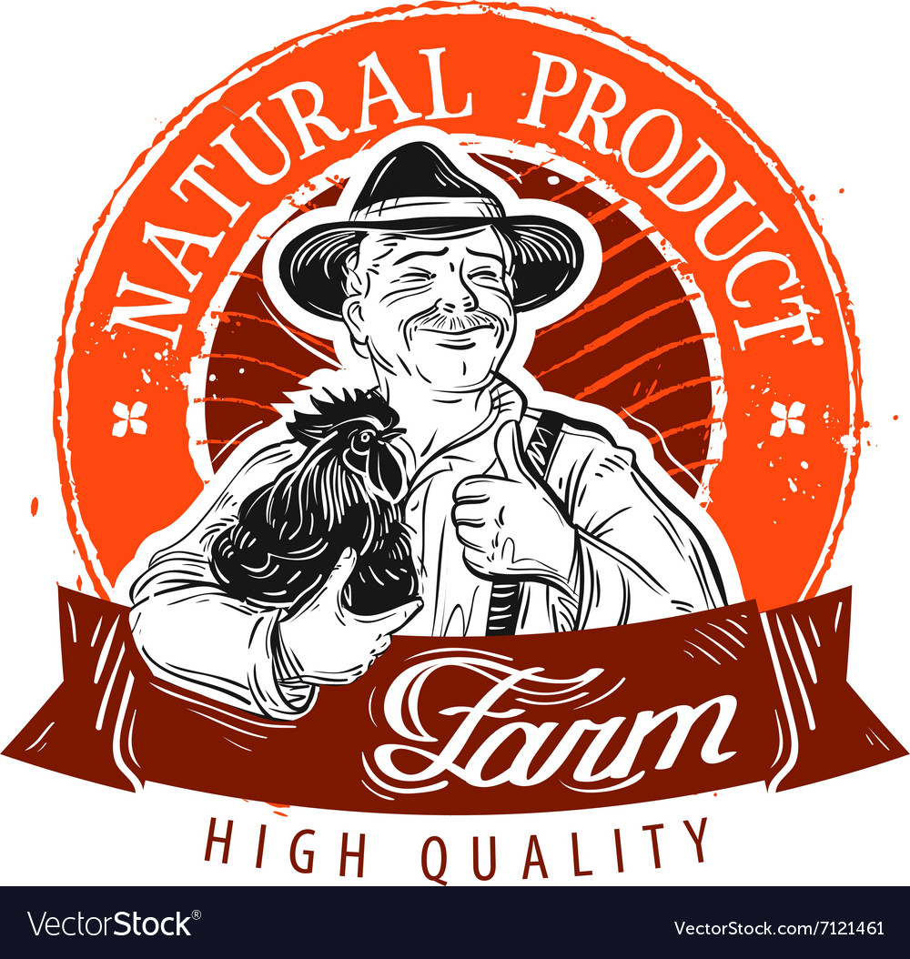 Farmer and chicken stamp vector