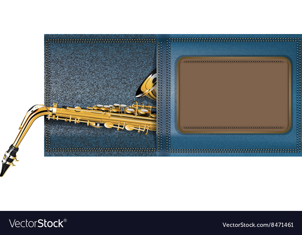 Saxophone in a pocket of jeans vector