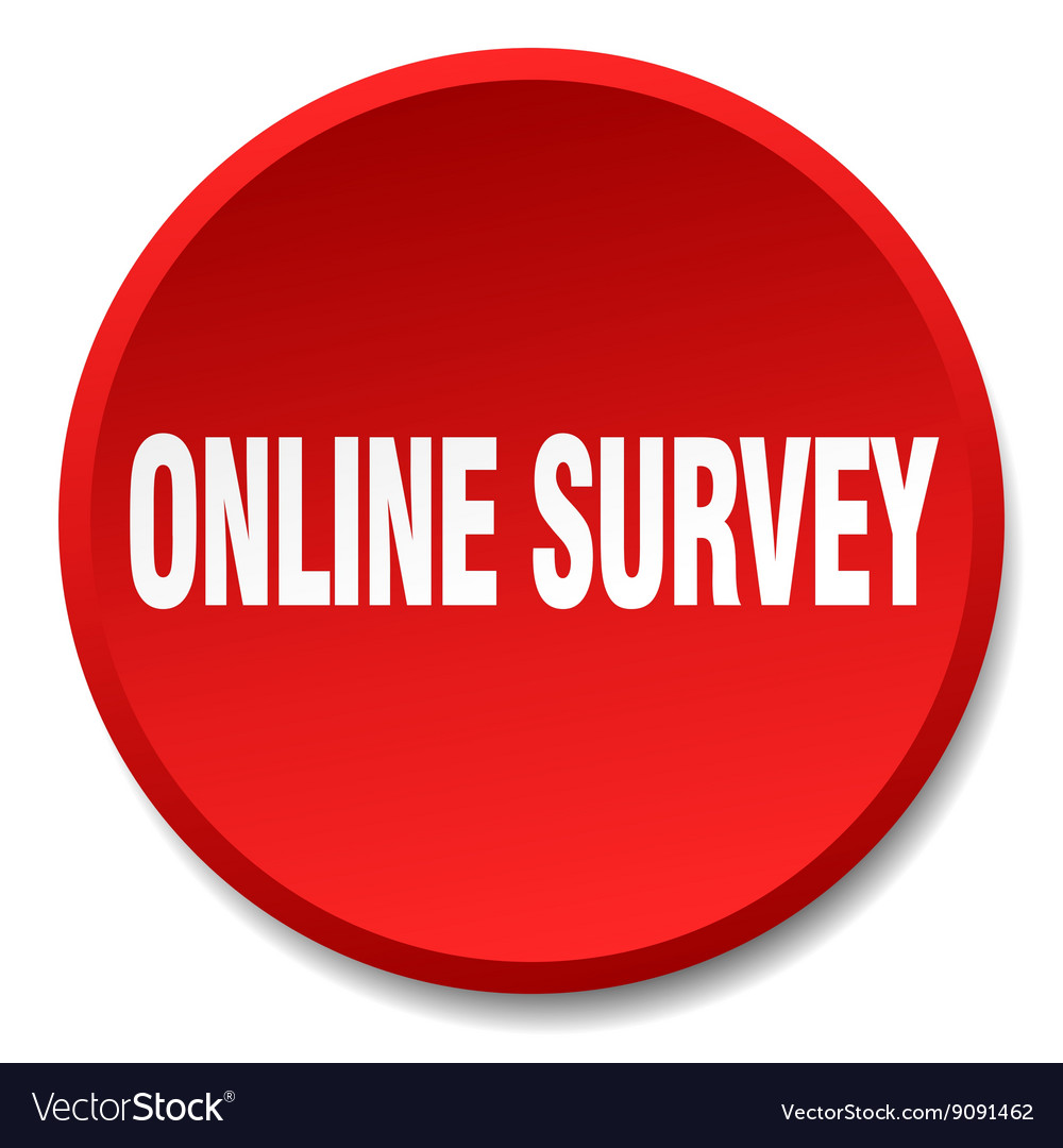 Online survey red round flat isolated push button vector