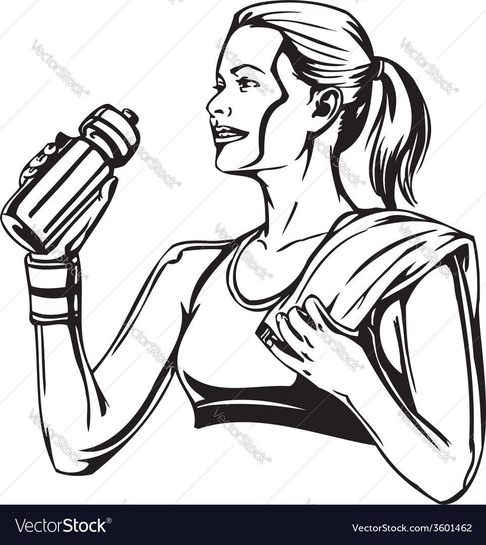 Woman drinking from a shaker  sports nutrition vector