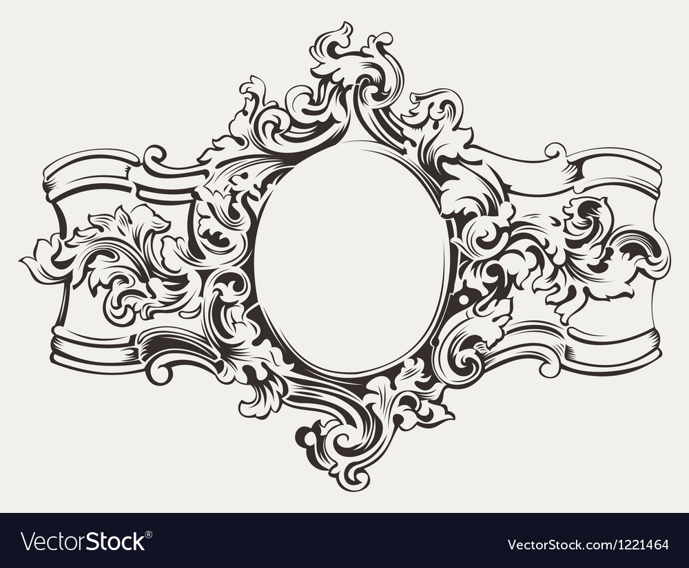 Antique ornate frame engraving vector