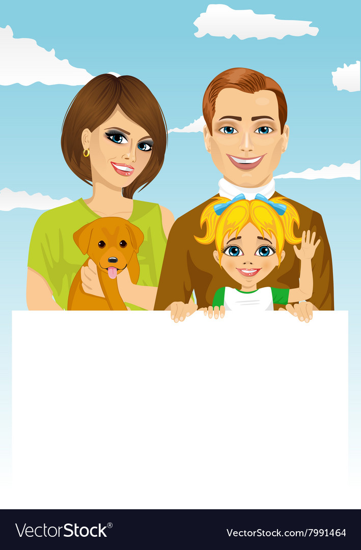 Happy family holding a white blank billboard vector