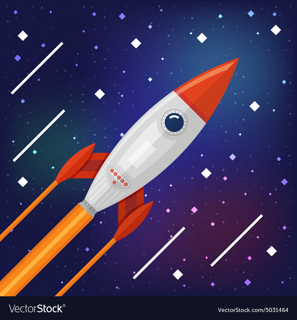 Space rocket flying through the cosmos vector