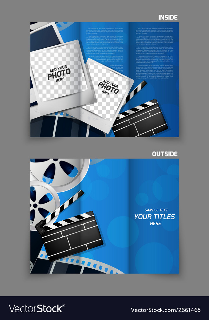 Cinema trifold brochure design vector