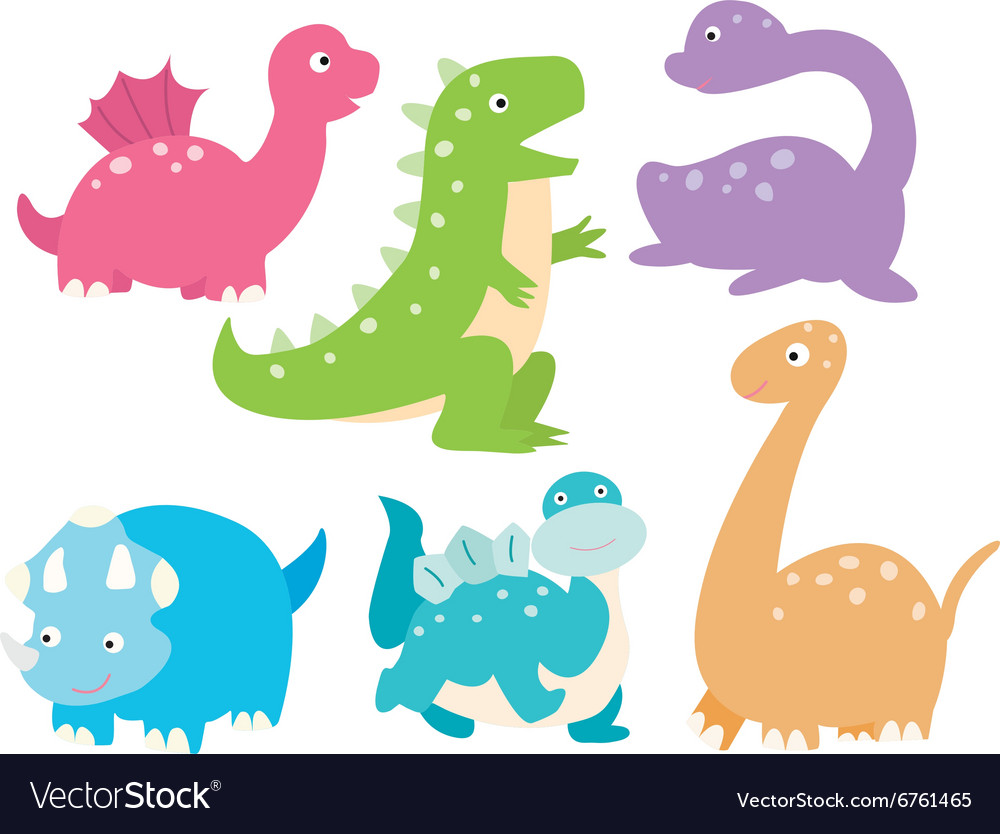 Cute dinosaurs collection vector