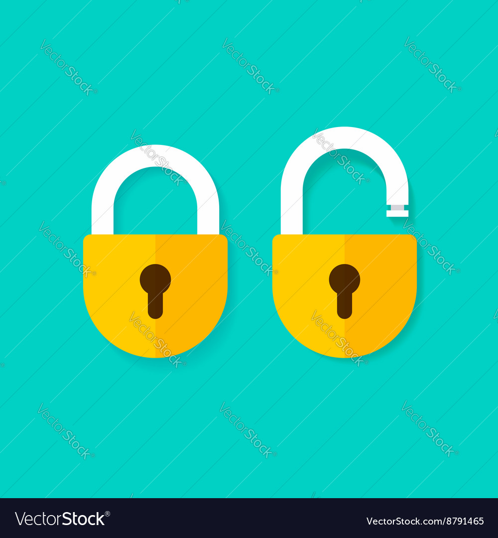 Lock open and closed icons isolated on blue vector