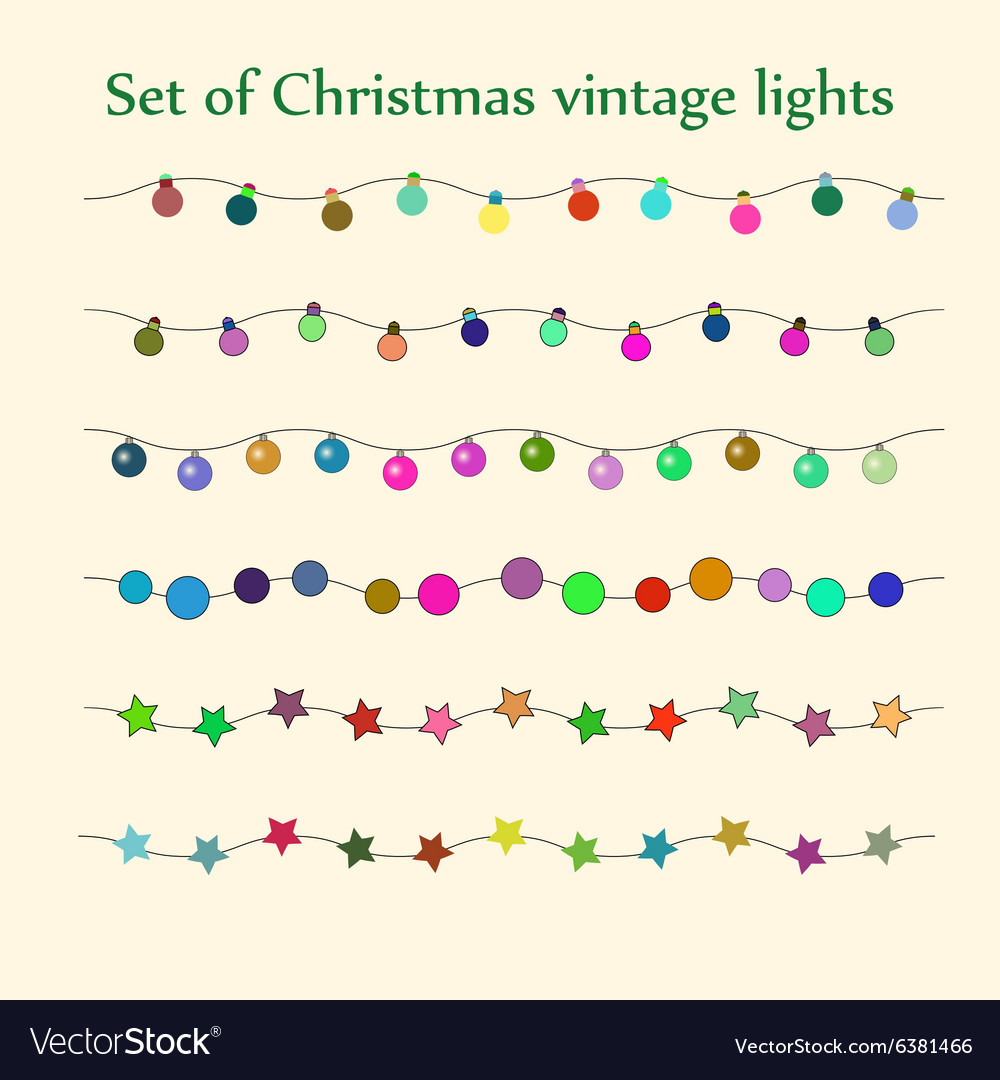 Christmas string lights set vector