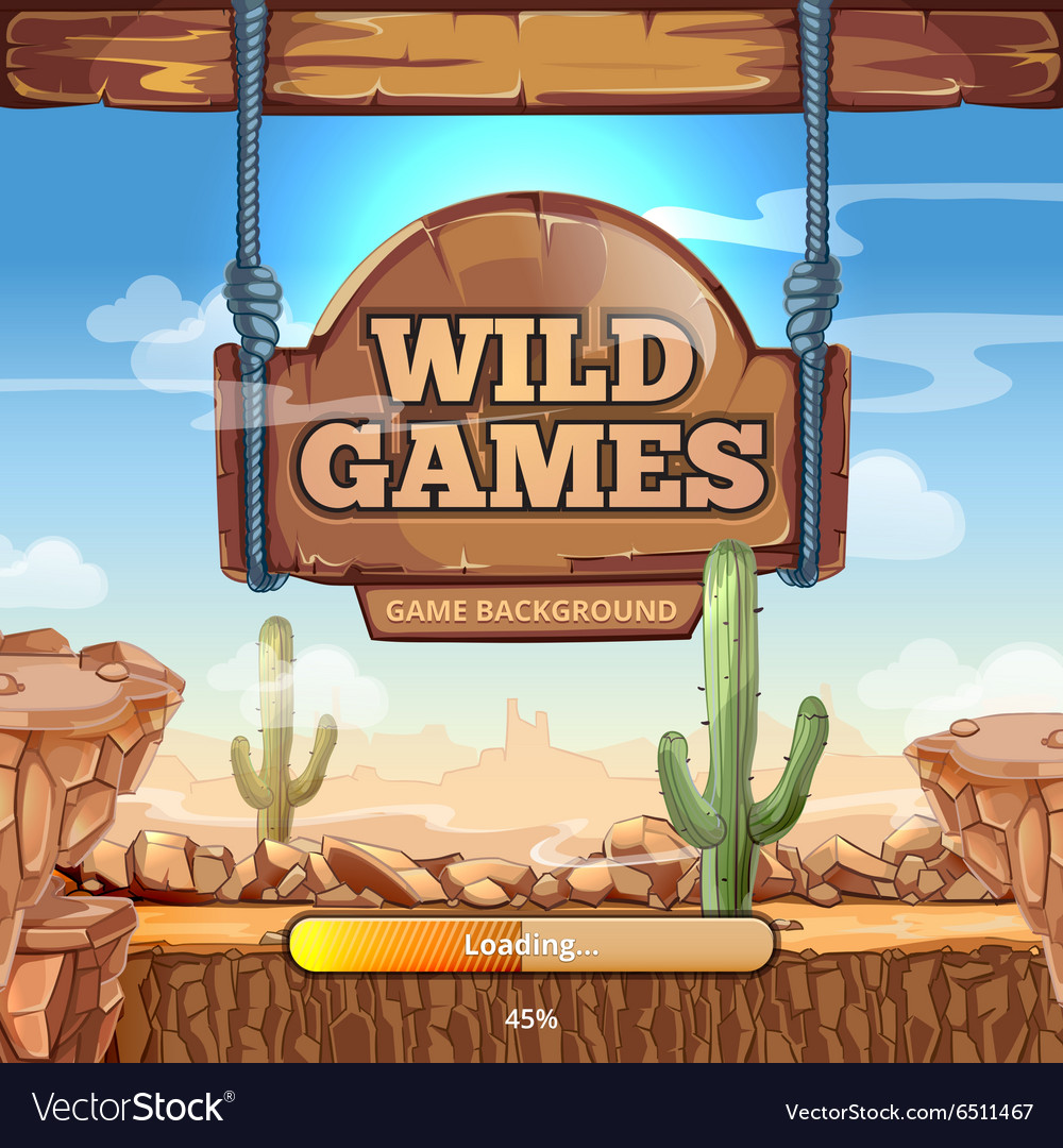 Loading screen with title for a wild west game vector