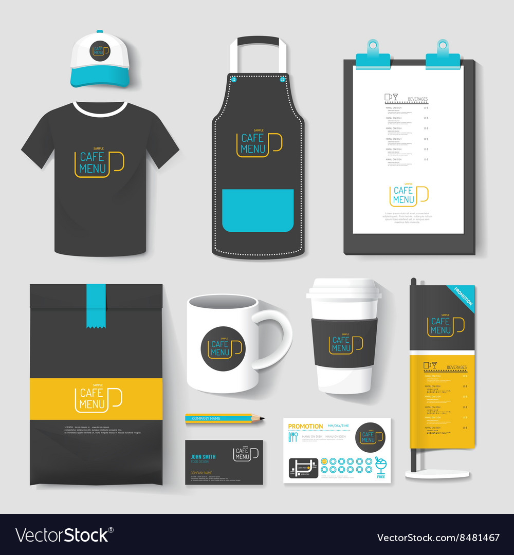 Set of restaurant and coffee shop uniform corporat vector