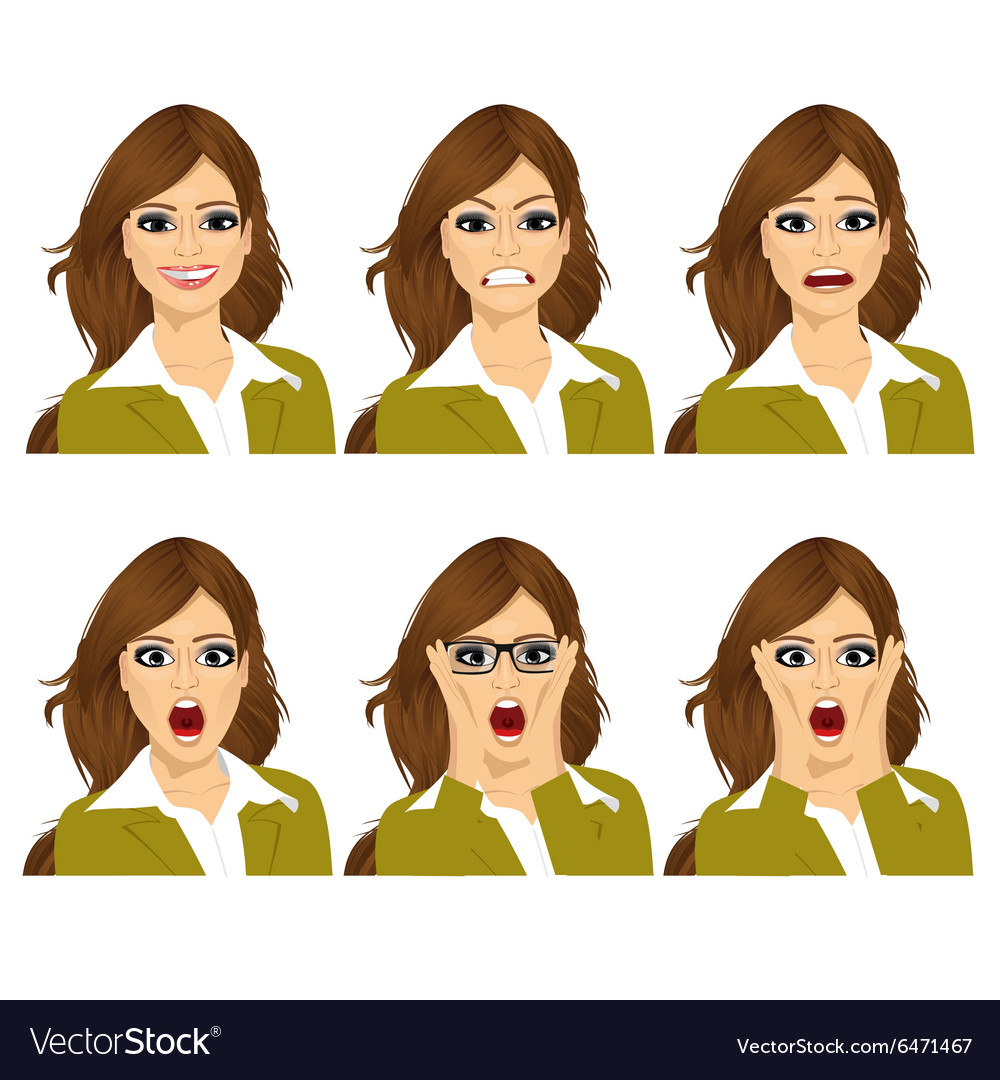 Woman on six different face expressions set vector