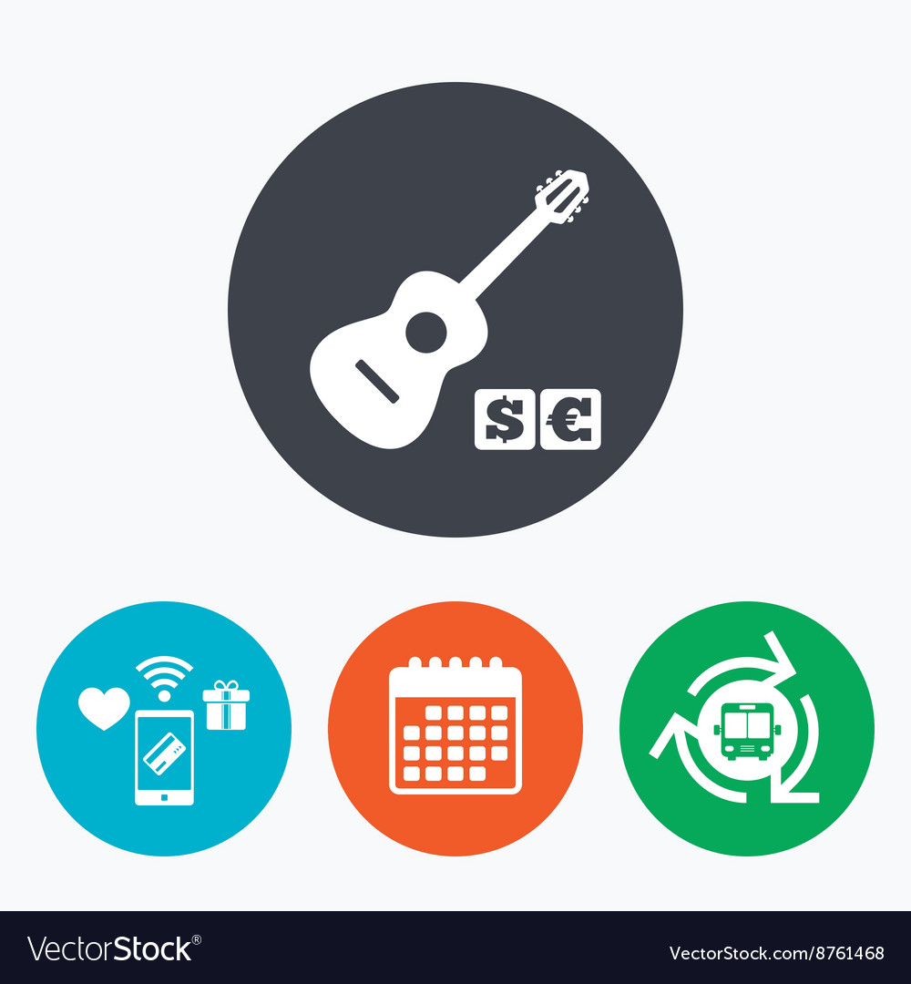 Acoustic guitar sign icon paid music symbol vector