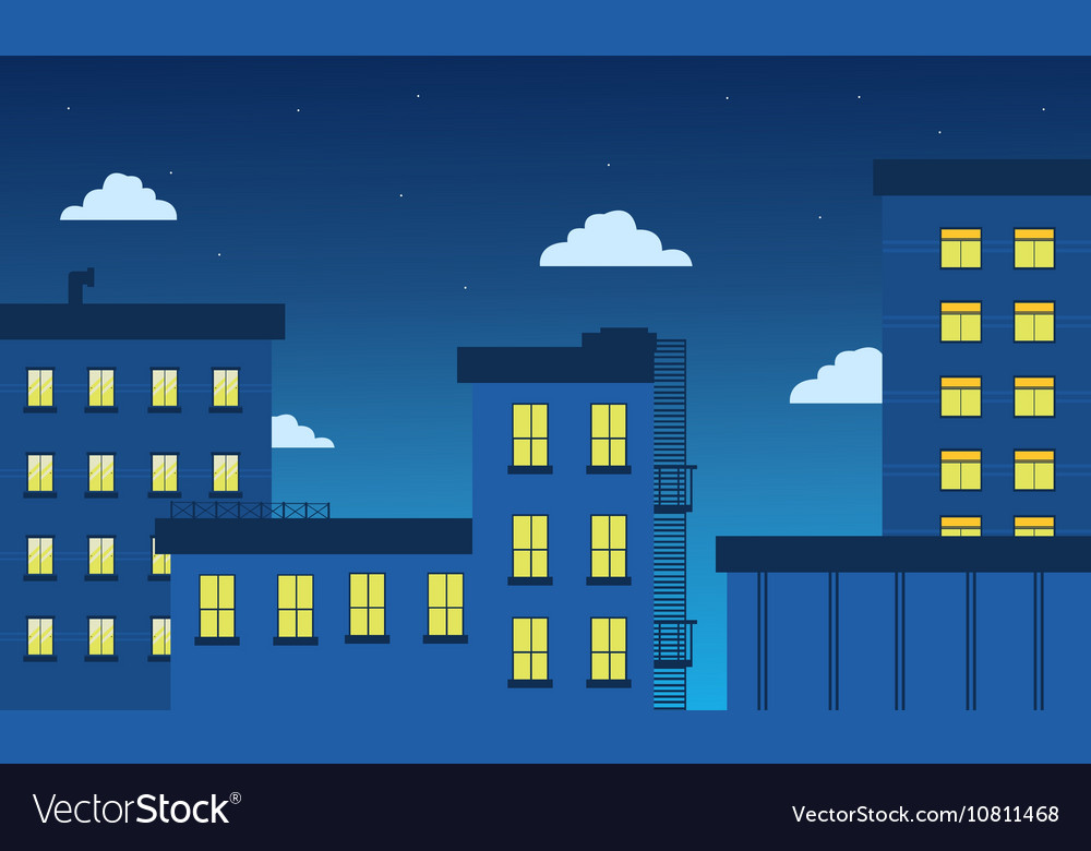 Building and light landscape flat vector