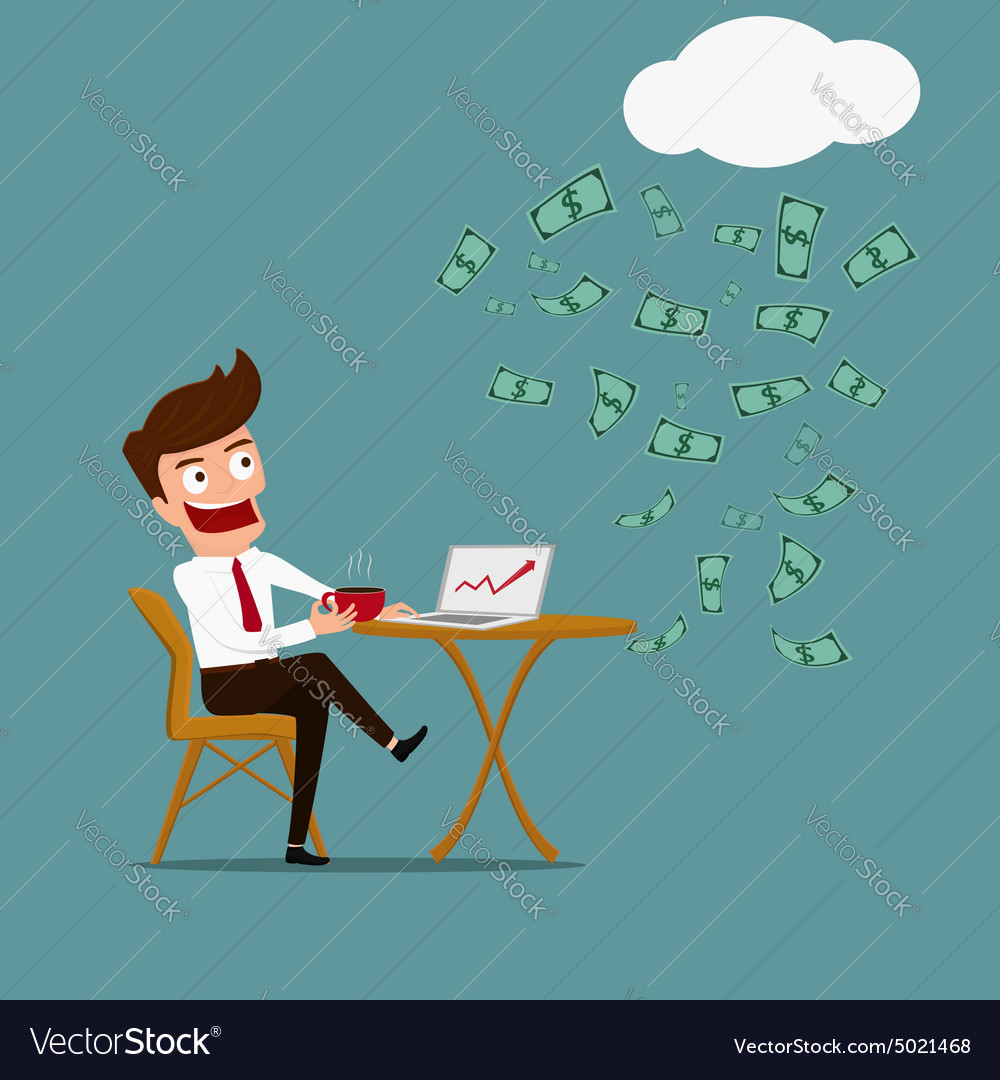 Business man have relax and passive income concept vector