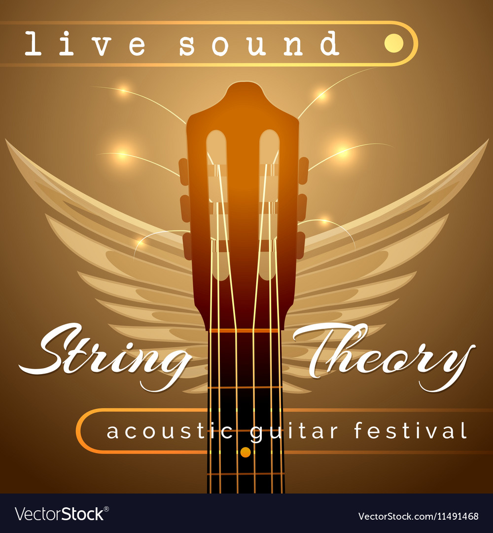 Guitar concert show poster with acoustic guitar vector