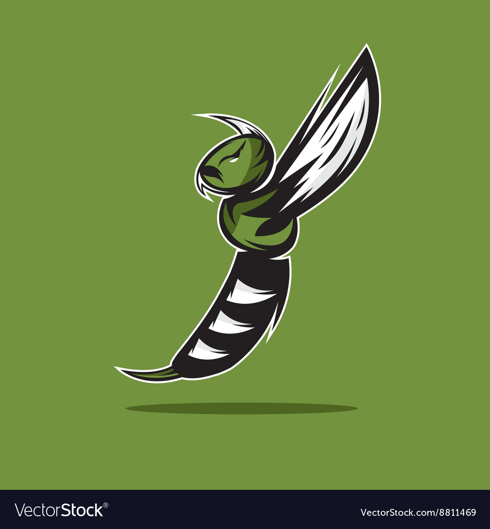 Aggressive bee or wasp mascot design template vector