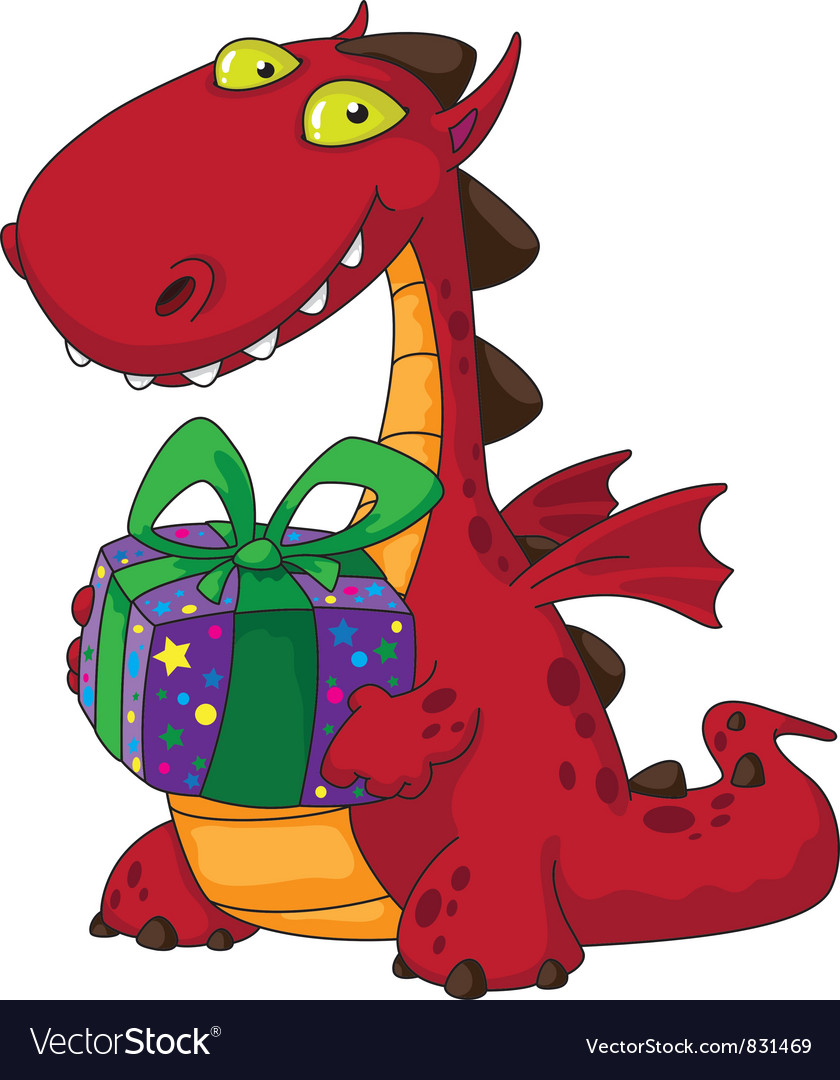 Dragon and a gift vector