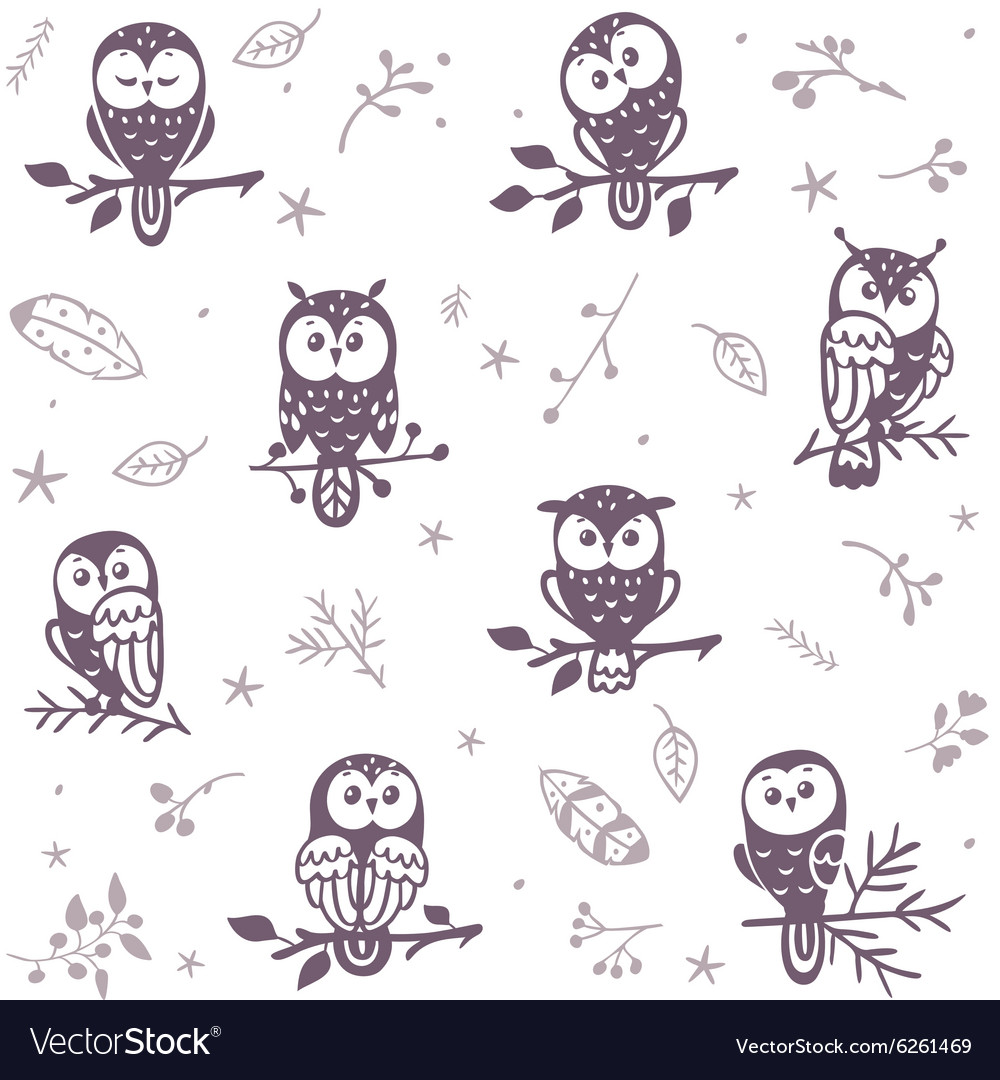 Owl seamless background vector