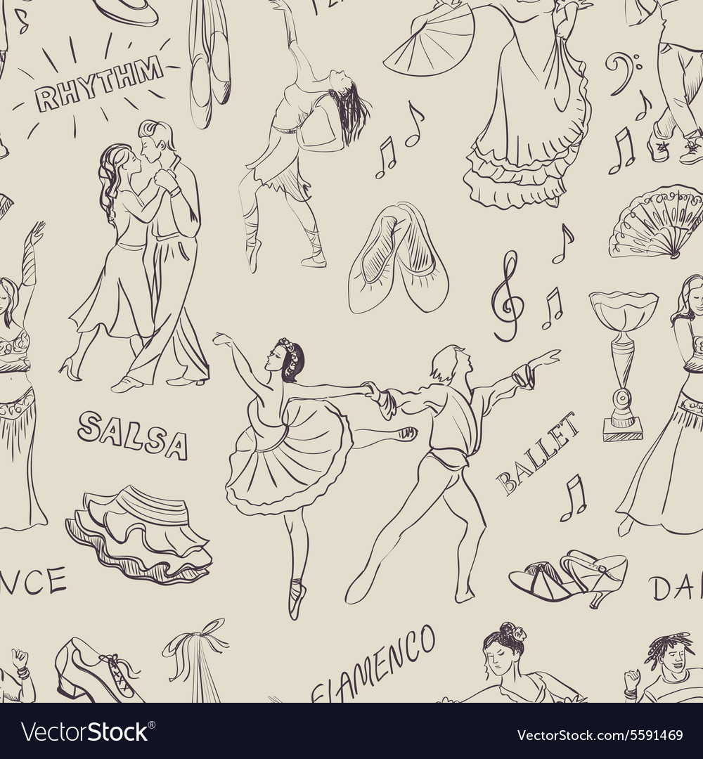 Seamless pattern of the dancing vector