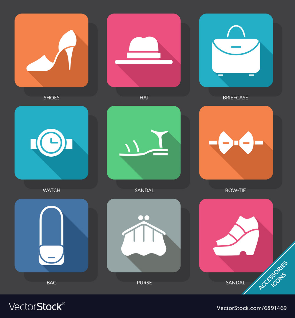 Set with accessories icons vector