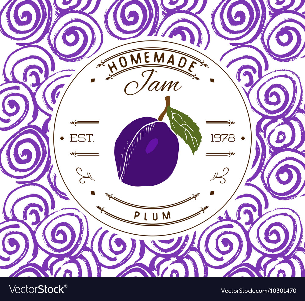 Jam label design template for plum dessert product vector