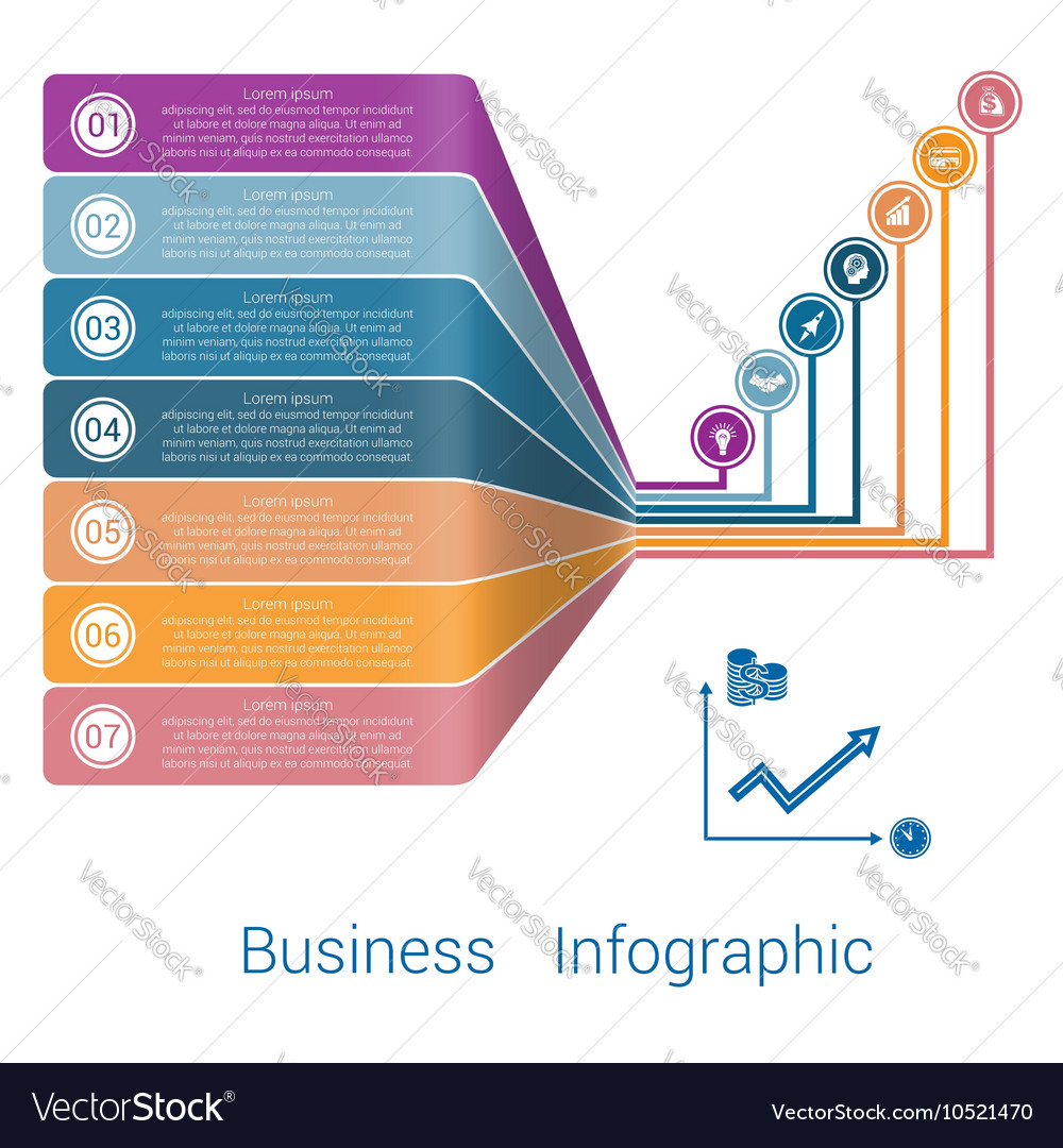 Template infographic lines strips perspective 7 vector