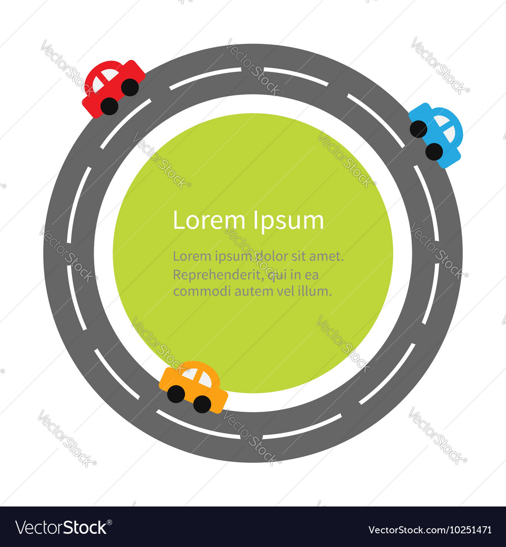 Round road and cartoon cars flat design green vector