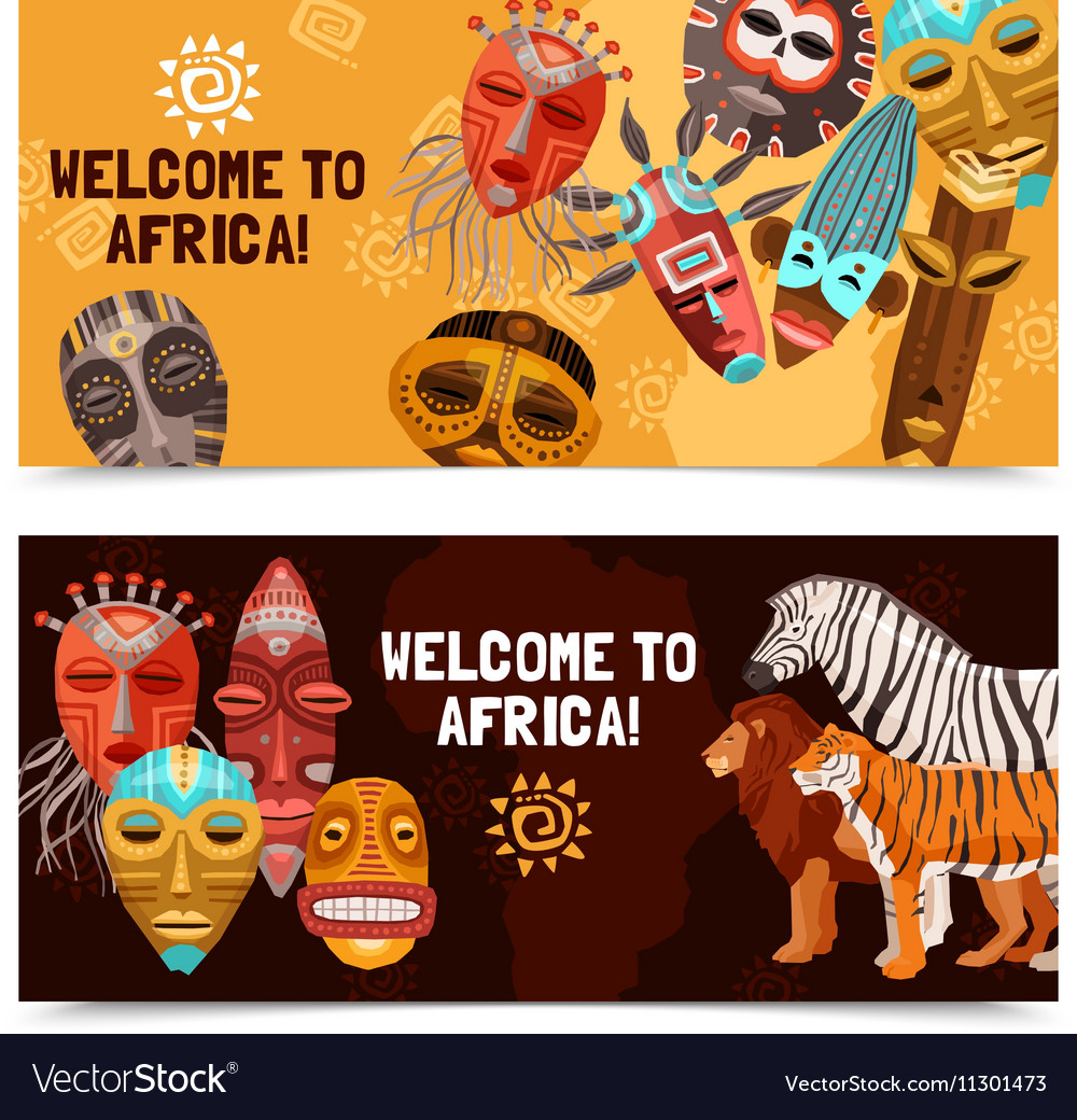 African ethnic tribal masks banners vector