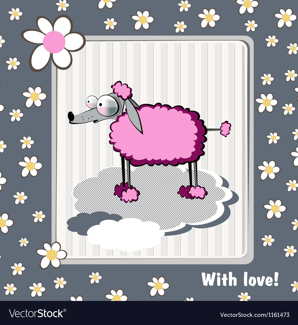 Card with love dog vector