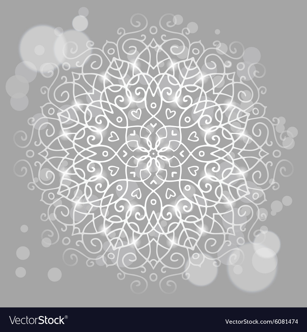 Abstract grey background with a round mandala vector