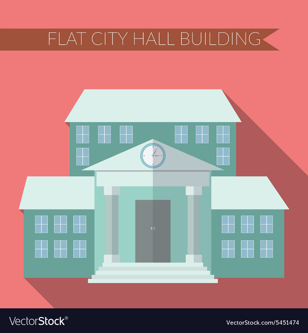 Flat design modern of city hall building icon with vector