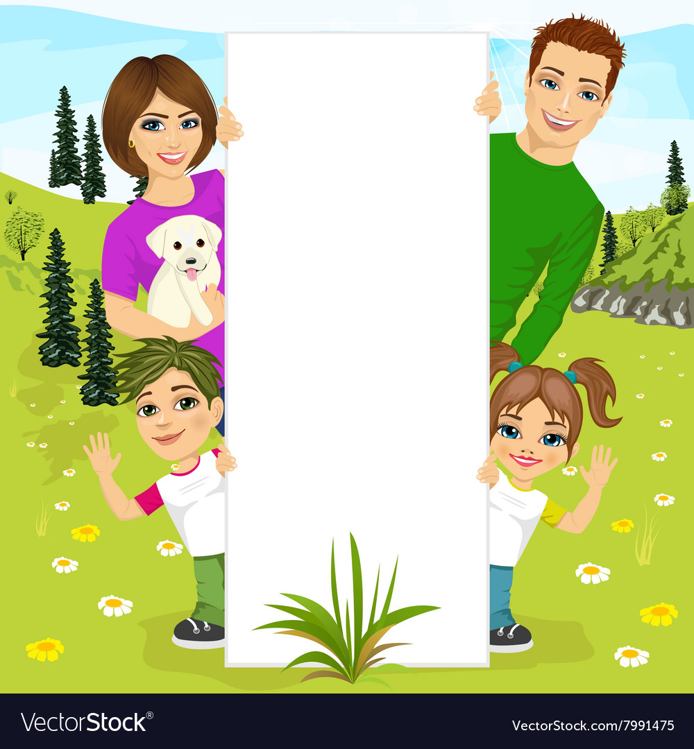 Happy family behind a white blank billboard vector