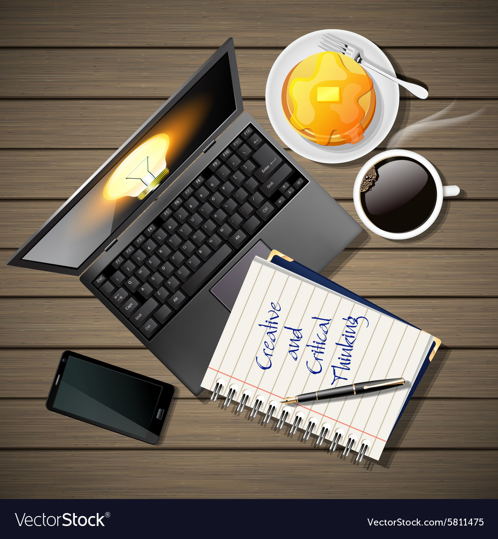 Laptop and phone with coffee and pancake and book vector
