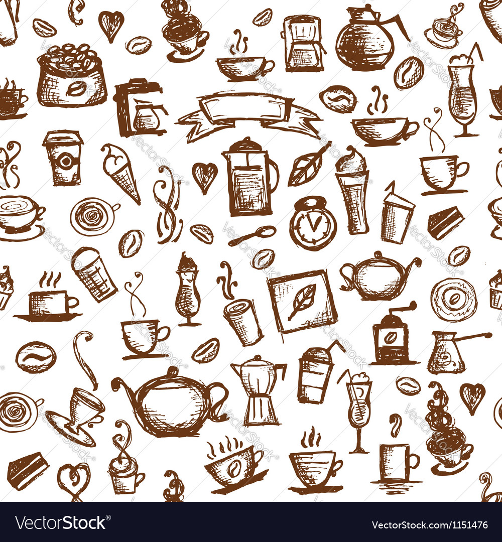 Coffee time seamless background for your design vector
