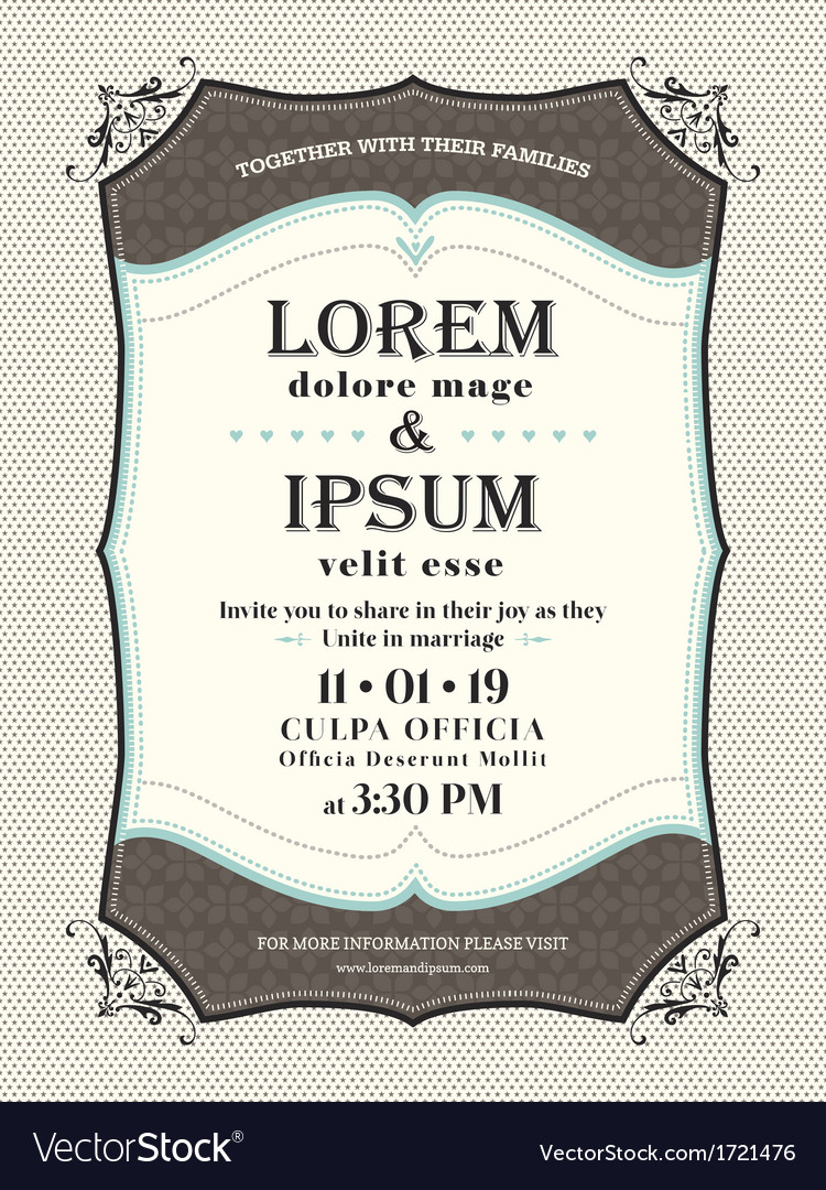 Vintage wedding invitation border and frame templa vector