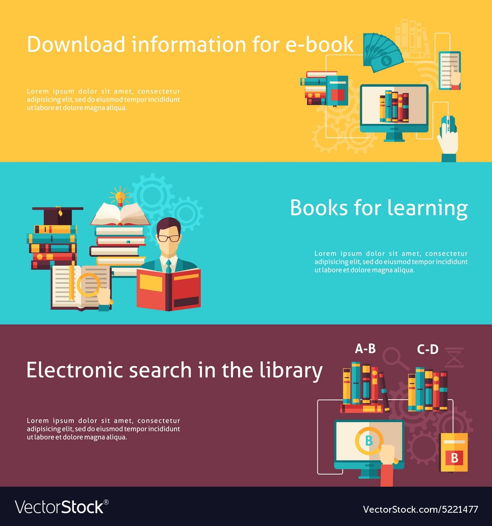Books flat banner set vector