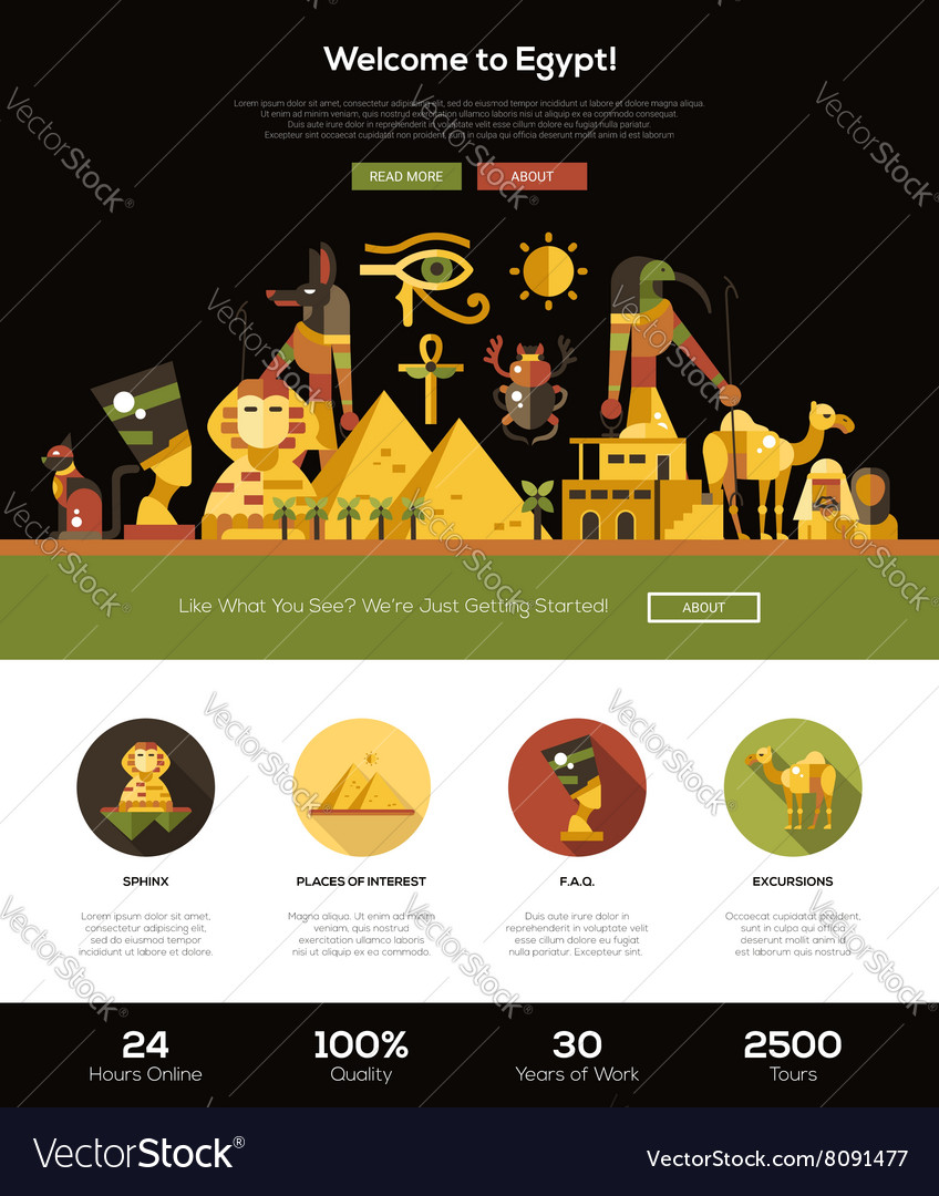 Traveling to egypt website header banner with vector