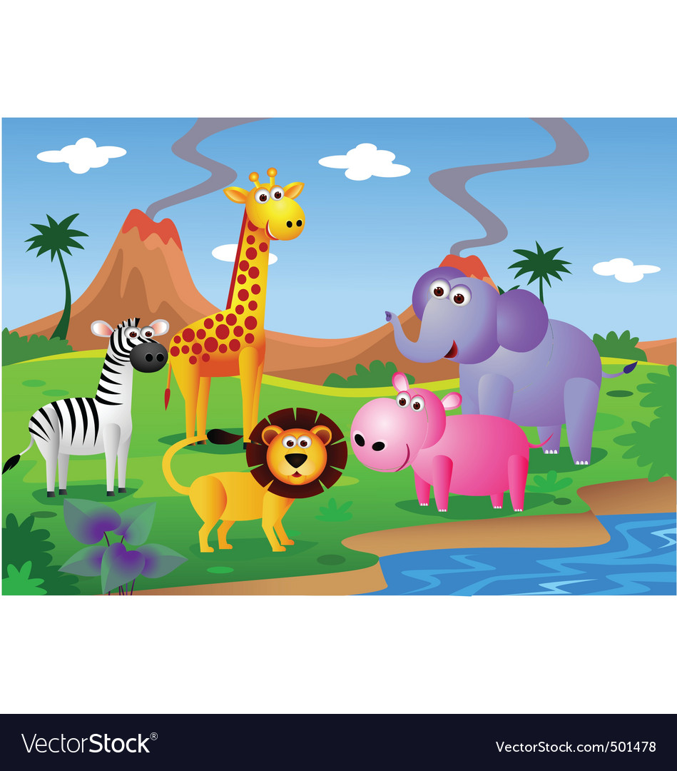 Safari animal cartoon vector