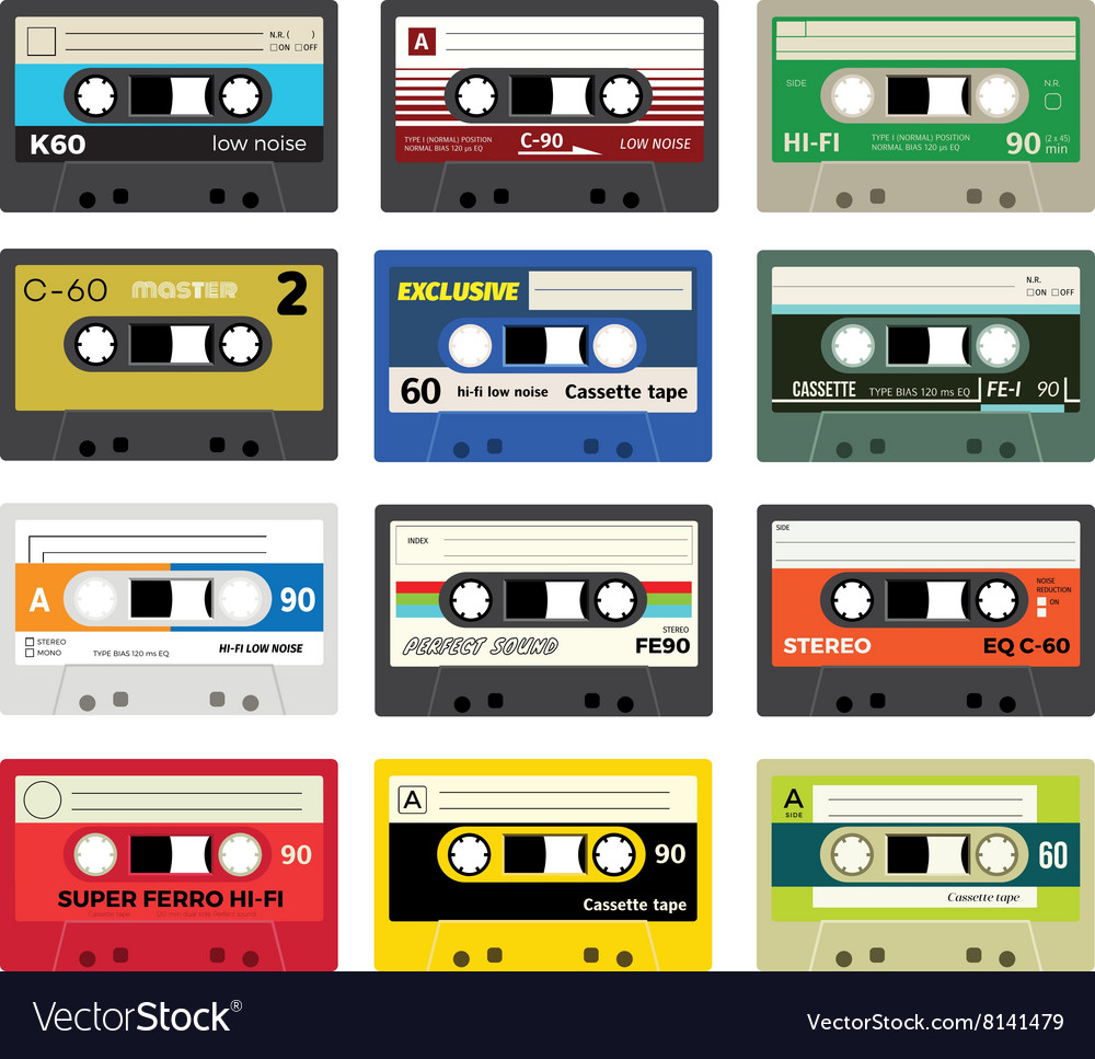 Vintage cassette tapes vol 1 vector