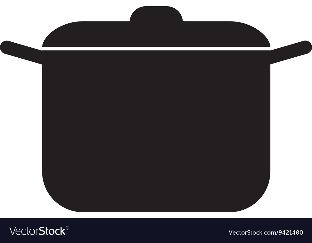 Black cooking pan graphic vector