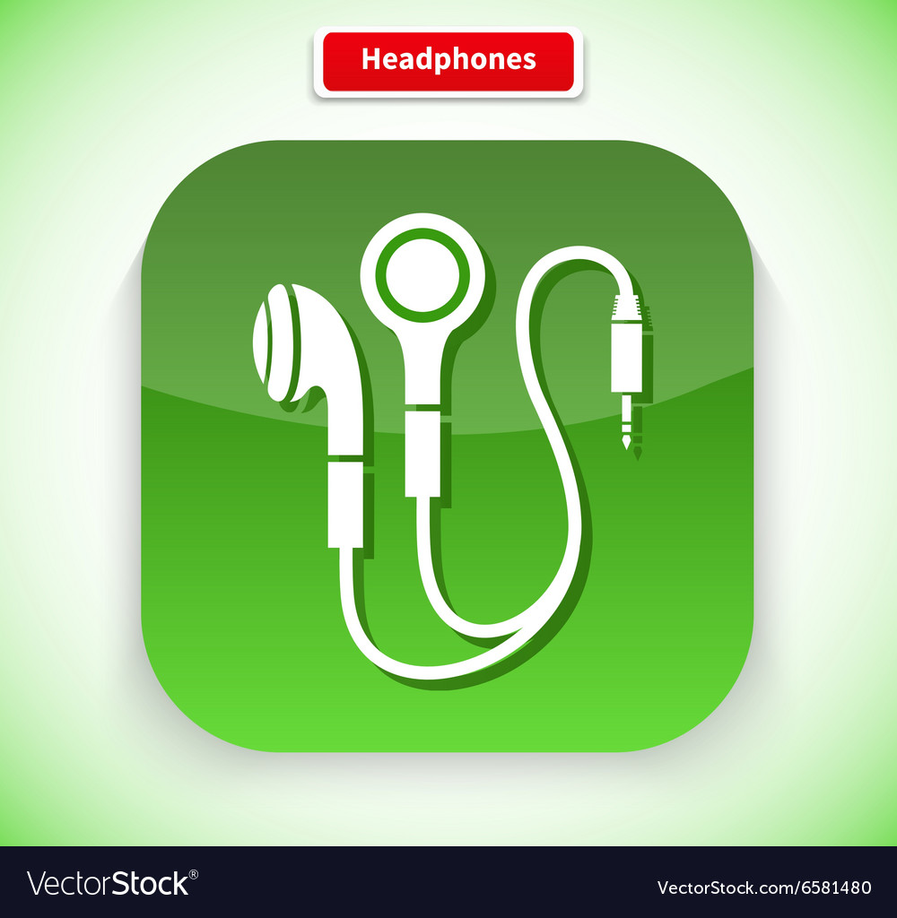 Headphone app icon flat style design vector