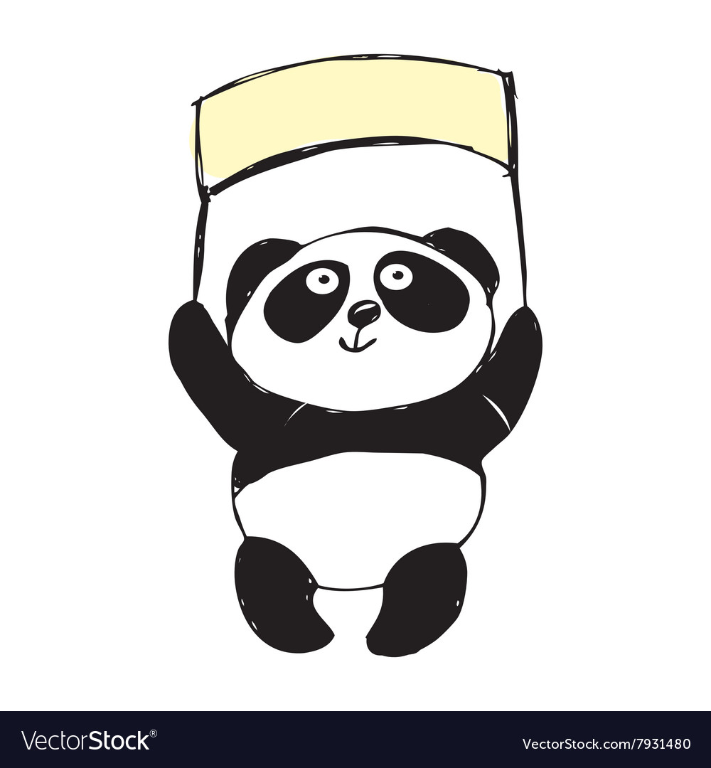 Little cute panda isolated on white hand vector